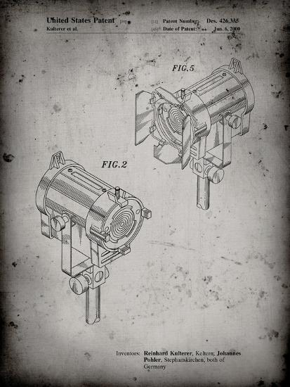 PP495-Faded Grey Stage Lights Patent Poster-Cole Borders-Giclee Print