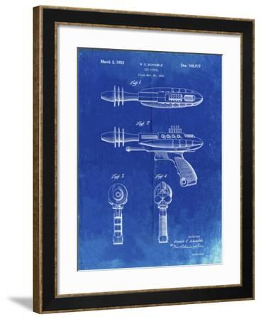 PP498-Faded Blueprint Toy Laser Gun Patent Print-Cole Borders-Framed Giclee Print