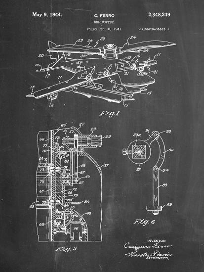 PP500-Chalkboard Early Helicopter Patent Poster-Cole Borders-Giclee Print