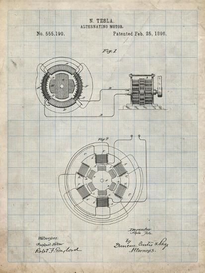 PP505-Antique Grid Parchment Tesla Alternating Motor Patent Poster-Cole Borders-Giclee Print