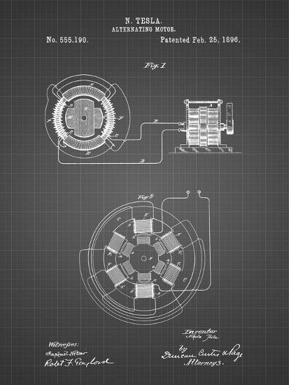 PP505-Black Grid Tesla Alternating Motor Patent Poster-Cole Borders-Giclee Print