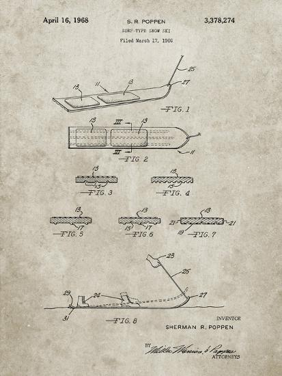 PP508-Sandstone Snurfer Poppen First Modern Snowboard Patent Poster-Cole Borders-Giclee Print