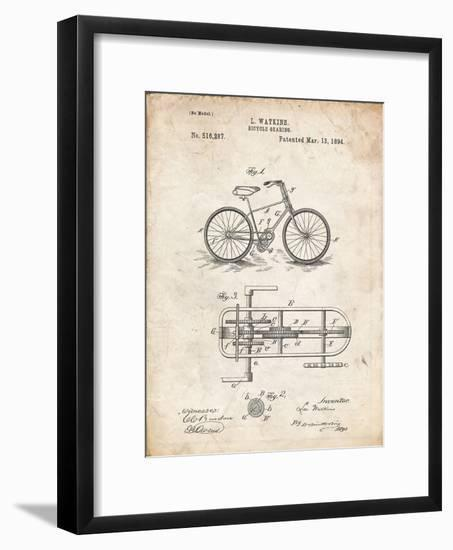 PP51-Vintage Parchment Bicycle Gearing 1894 Patent Poster-Cole Borders-Framed Giclee Print
