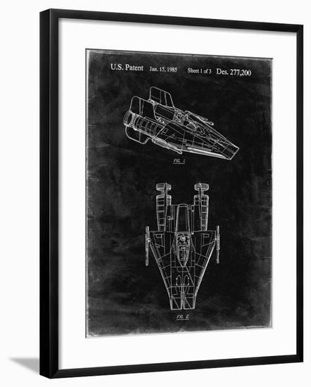 PP515-Black Grunge Star Wars RZ-1 A Wing Starfighter Patent Print-Cole Borders-Framed Giclee Print