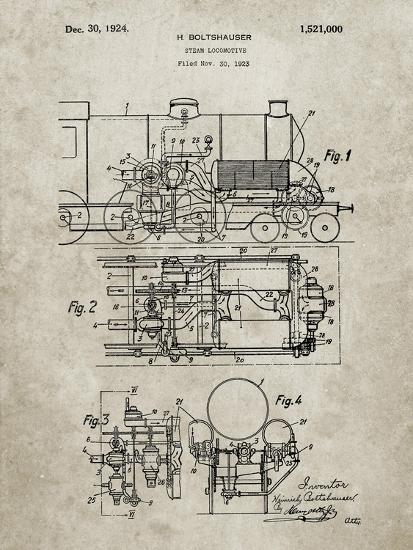 pp516-sandstone steam train locomotive patent poster giclee print by cole  borders | art com