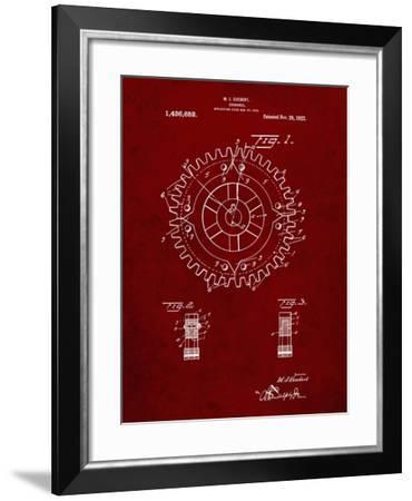 PP526-Burgundy Cogwheel 1922 Patent Poster-Cole Borders-Framed Giclee Print