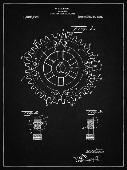 PP526-Vintage Black Cogwheel 1922 Patent Poster-Cole Borders-Giclee Print