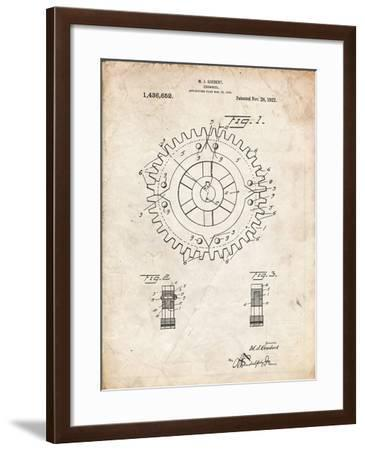 PP526-Vintage Parchment Cogwheel 1922 Patent Poster-Cole Borders-Framed Giclee Print