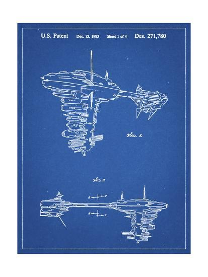 PP529-Blueprint Star Wars Redemption Ship Patent Poster-Cole Borders-Giclee Print