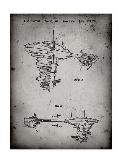 PP529-Faded Grey Star Wars Redemption Ship Patent Poster-Cole Borders-Giclee Print