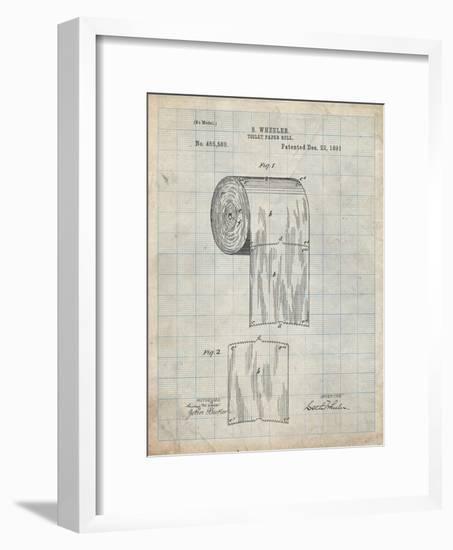 PP53-Antique Grid Parchment Toilet Paper Patent-Cole Borders-Framed Giclee Print