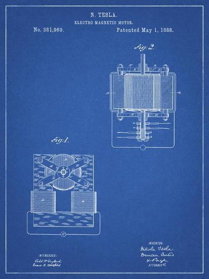 PP532-Blueprint Tesla Electro Magnetic Motor Poster-Cole Borders-Giclee Print