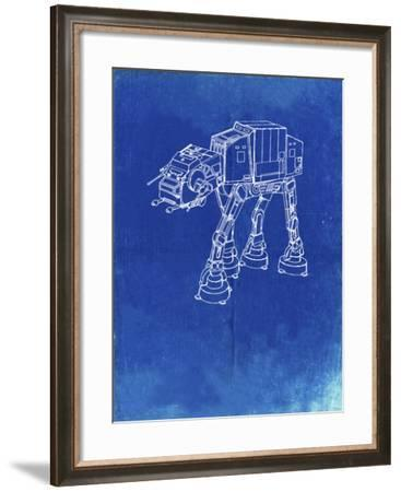 PP534-Faded Blueprint At At Walker Patent Poster-Cole Borders-Framed Giclee Print