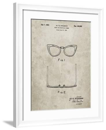 PP541-Sandstone Ray Ban Horn Rimmed Glasses Patent Poster-Cole Borders-Framed Giclee Print