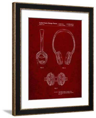 PP543-Burgundy Noise Canceling Headphones Patent Poster-Cole Borders-Framed Giclee Print