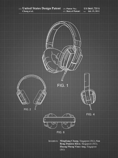 PP550-Black Grid Headphones Patent Poster-Cole Borders-Giclee Print