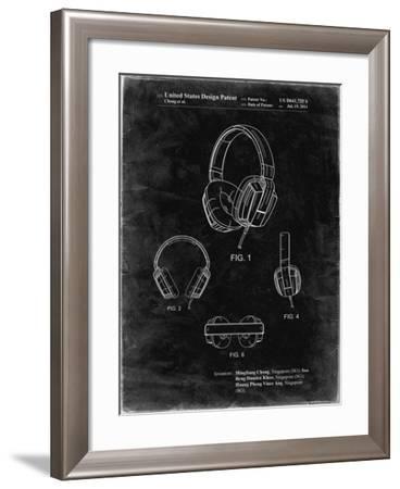 PP550-Black Grunge Headphones Patent Poster-Cole Borders-Framed Giclee Print
