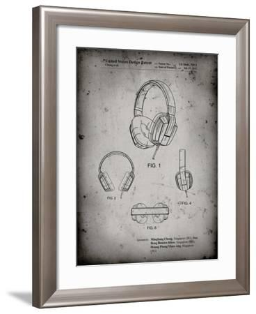PP550-Faded Grey Headphones Patent Poster-Cole Borders-Framed Giclee Print