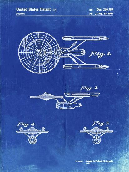PP56-Faded Blueprint Starship Enterprise Patent Poster-Cole Borders-Giclee Print