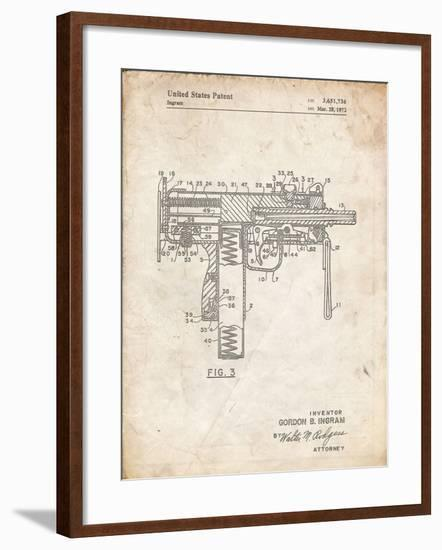 PP584-Vintage Parchment Mac-10 Uzi Patent Poster-Cole Borders-Framed Giclee Print