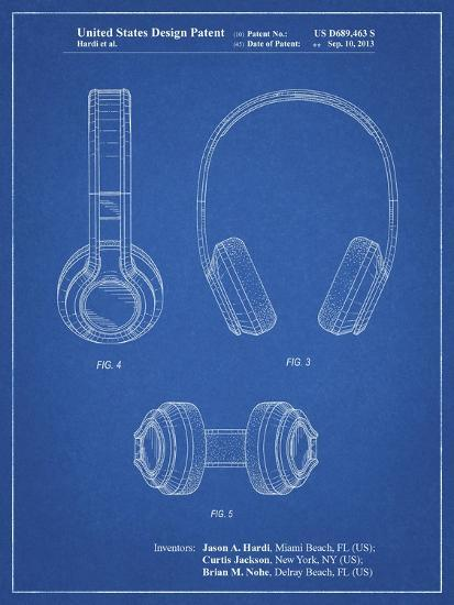 PP596-Blueprint Bluetooth Headphones Patent Poster-Cole Borders-Giclee Print