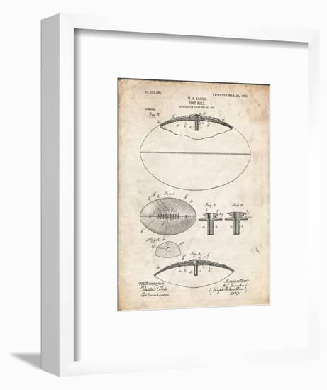 PP601-Vintage Parchment Football Game Ball 1902 Patent Poster-Cole Borders-Framed Giclee Print