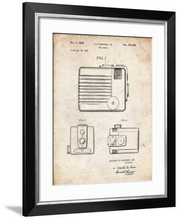PP606-Vintage Parchment Kodak Brownie Hawkeye Patent Poster-Cole Borders-Framed Giclee Print