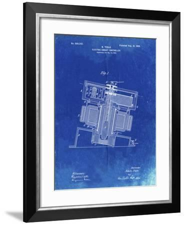 PP608-Faded Blueprint Tesla Electric Circuit Controller Poster-Cole Borders-Framed Giclee Print