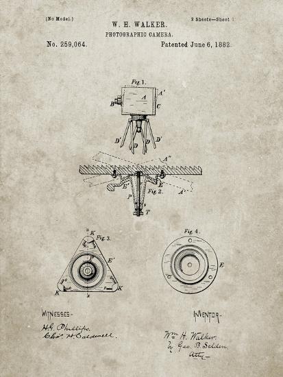 PP609-Sandstone Antique Camera Tripod Head Improvement Patent Poster-Cole Borders-Giclee Print