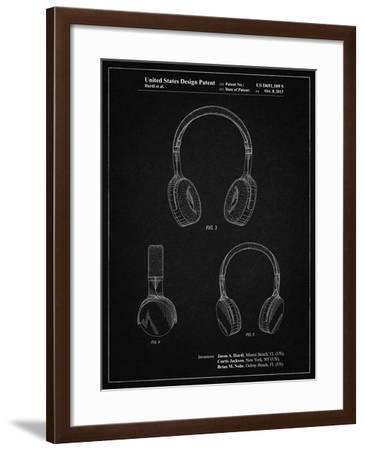 PP612-Vintage Black Headphones Patent Poster-Cole Borders-Framed Giclee Print