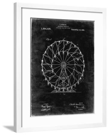 PP615-Black Grunge Ferris Wheel 1920 Patent Poster-Cole Borders-Framed Giclee Print