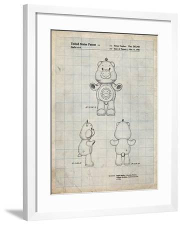 PP618-Antique Grid Parchment Sunshine Care Bear Patent Poster-Cole Borders-Framed Giclee Print