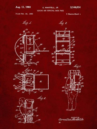 PP632-Burgundy Framed Hiking Pack Patent Poster-Cole Borders-Giclee Print
