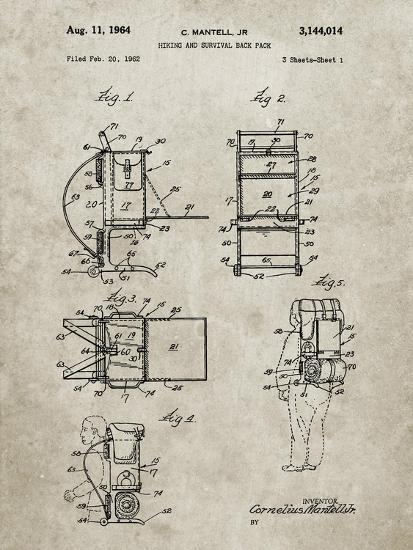 PP632-Sandstone Framed Hiking Pack Patent Poster-Cole Borders-Giclee Print