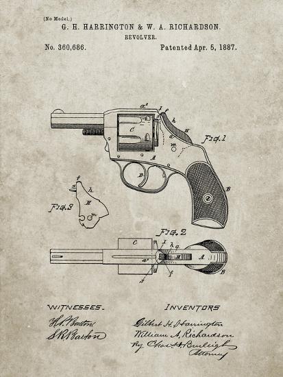 PP633-Sandstone H & R Revolver Pistol Patent Poster-Cole Borders-Giclee Print