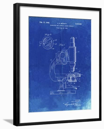 PP64-Faded Blueprint Antique Microscope Patent Poster-Cole Borders-Framed Giclee Print