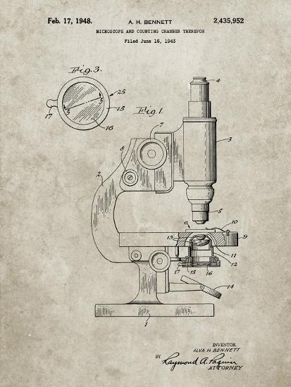 PP64-Sandstone Antique Microscope Patent Poster-Cole Borders-Giclee Print