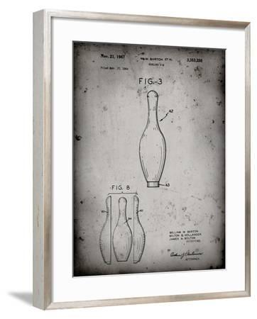 PP641-Faded Grey Bowling Pin 1967 Patent Poster-Cole Borders-Framed Giclee Print