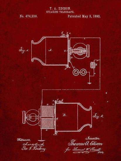 PP644-Burgundy Edison Speaking Telegraph Patent Poster-Cole Borders-Giclee Print
