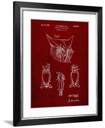PP647-Burgundy Owl Bird of Prey Patent Poster-Cole Borders-Framed Giclee Print