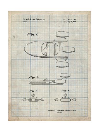 PP650-Antique Grid Parchment Star Wars X-34 Landspeeder Patent Poster-Cole Borders-Giclee Print