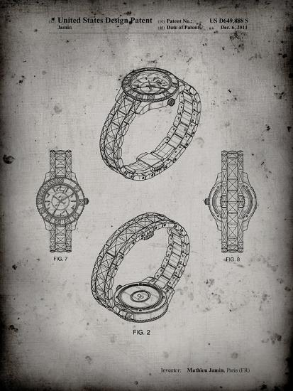 PP651-Faded Grey Luxury Watch Patent Poster-Cole Borders-Giclee Print