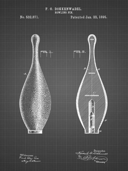 PP652-Black Grid Vintage Bowling Pin Patent Poster-Cole Borders-Giclee Print