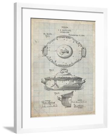 PP657-Antique Grid Parchment Haviland Covered Serving Dish Canvas Art-Cole Borders-Framed Giclee Print