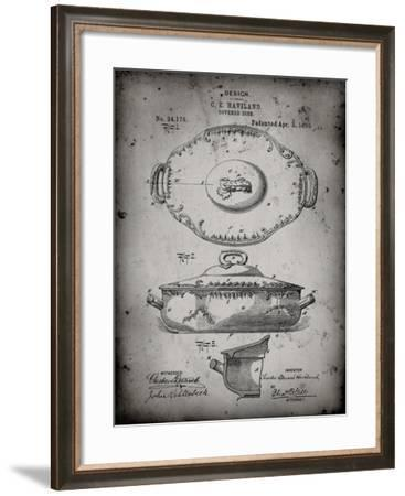 PP657-Faded Grey Haviland Covered Serving Dish Canvas Art-Cole Borders-Framed Giclee Print