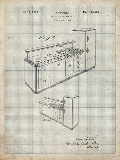 PP659-Antique Grid Parchment Kitchen Cabinets Poster-Cole Borders-Giclee Print