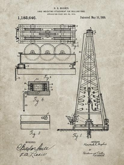 PP66-Sandstone Howard Hughes Oil Drilling Rig Patent Poster-Cole Borders-Giclee Print