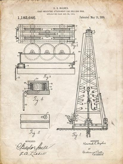 PP66-Vintage Parchment Howard Hughes Oil Drilling Rig Patent Poster Giclee  Print by Cole Borders | Art com