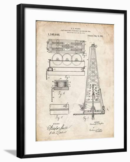 PP66-Vintage Parchment Howard Hughes Oil Drilling Rig Patent Poster-Cole Borders-Framed Giclee Print