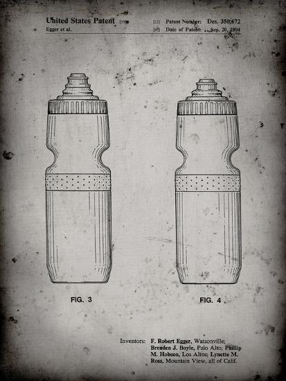 PP669-Faded Grey Cycling Water Bottle Patent Poster-Cole Borders-Giclee Print